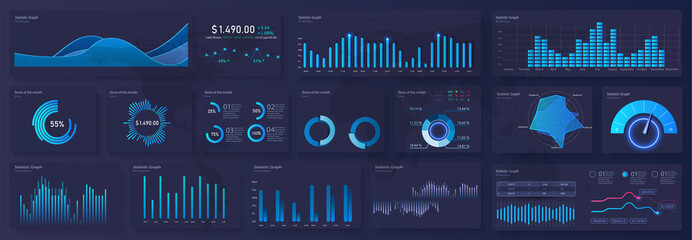 Modern modern infographic vector template with statistics graphs and finance charts. Diagram template and chart graph, graphic information visualization illustration.Technology user interface display.