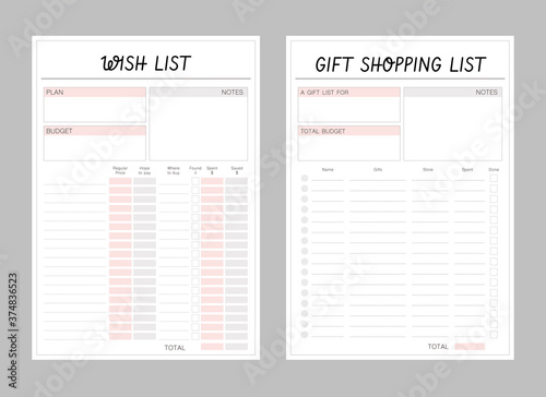 Fototapeta Wish List and Gift Shopping List printable template Vector. Blank printable vertical notebook page. Set of minimalist abstract planners. Business organizer. obraz na płótnie