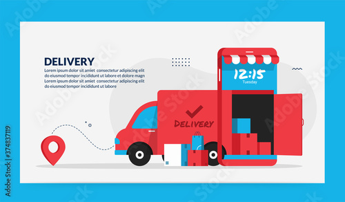 Online delivery service application, digital logistic concept with fastest truck Fototapet