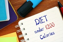 Healthy Concept About Diet Under 1200 Calories With Inscription On The Piece Of Paper.