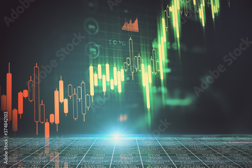 Screen with business charts and stock data. Fototapet