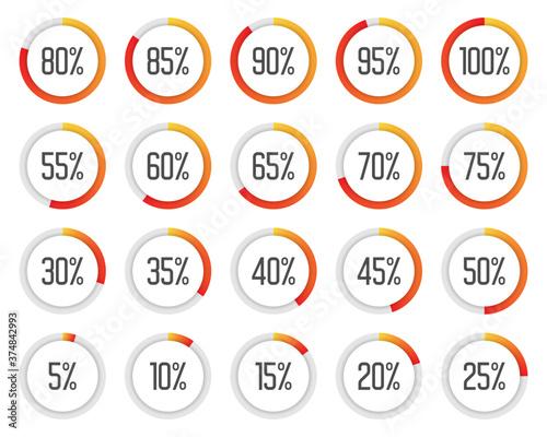 Set of colorful pie charts Fototapet