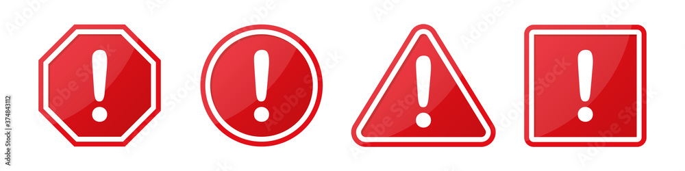 Fototapeta Set of hazard attention sign with exclamation mark in different shapes in red