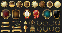 Luxury Badges And Labels With Laurel Wreath Silver And Gold Collection