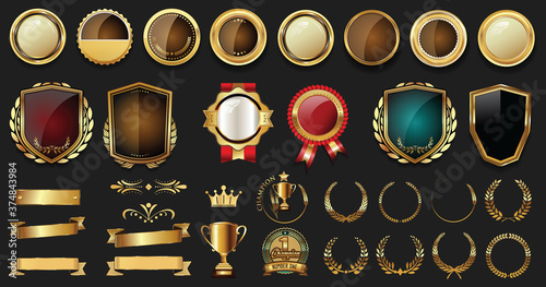 Luxury badges and labels with laurel wreath silver and gold collection Canvas