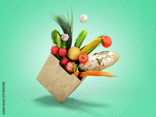Photographie fresh food in a paper bag for products 3d render on green gradient