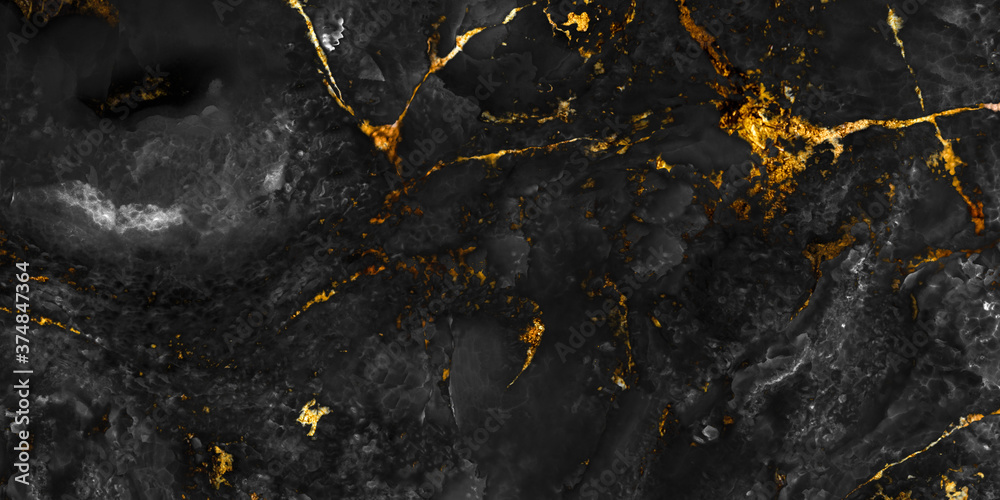 Fototapeta natural black marble texture with golden veins, breccia marbel tiles for ceramic wall tiles and floor tiles, granite slab stone ceramic tile, rustic matt  texture, polished quartz stone.