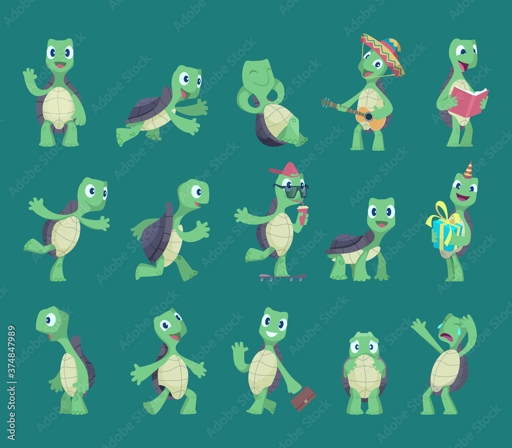 Fototapeta Turtles cartoon. Comic reptile funny characters in various action poses nature wild animals vector turtles illustrations. Reptile, turtle, tortoise animal mascot collection