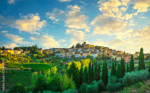 Cerreto Guidi village at sunset. Tuscany, Italy Wallpaper Mural