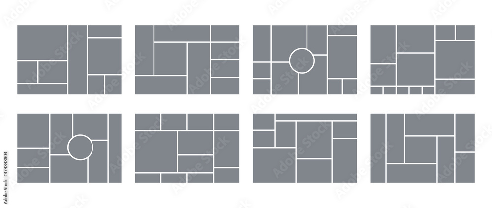 Fototapeta Photo collage grid. Vector. Mood board template. Set of blank moodboard. Pictures on white background. Mosaic frame banner. Photography album layout. Horizontal design of mockup. Simple illustration.