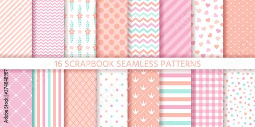Fototapeta Scrapbook seamless pattern