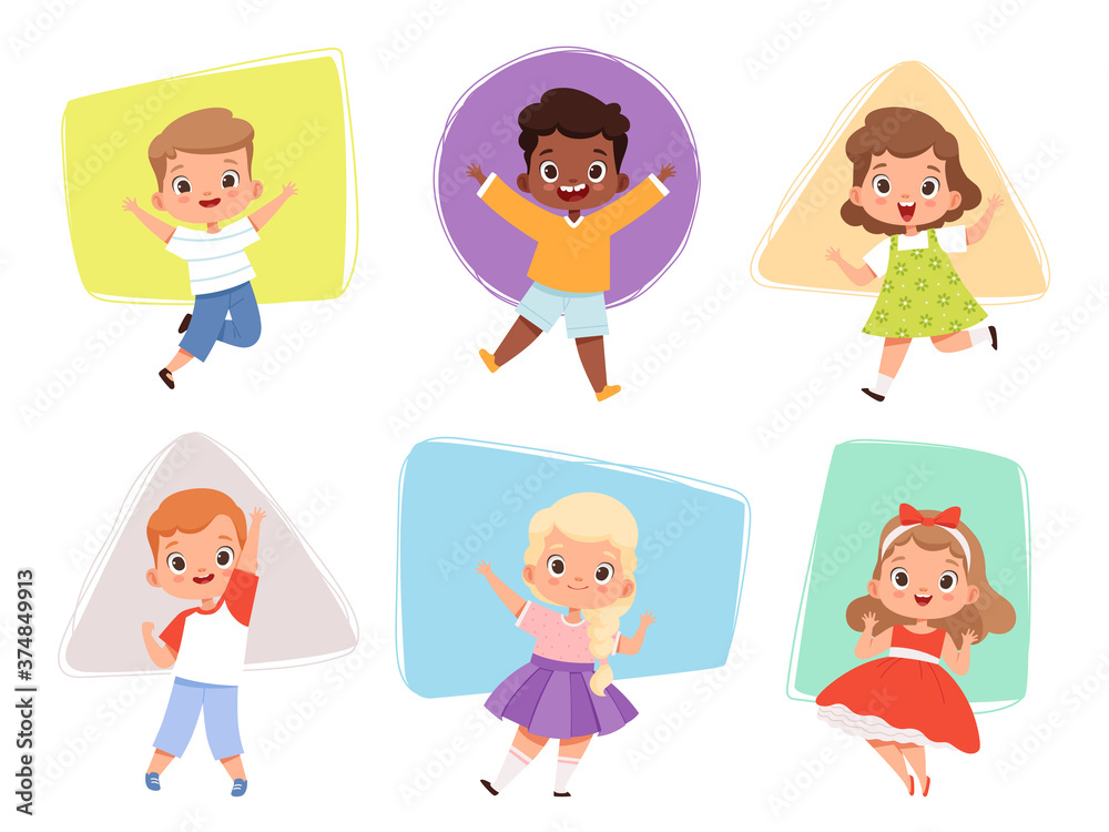 Fototapeta Happy kids jumping. Action childrens in different poses sitting playing joyful running cute male and female characters vector boys and girls. Action fun kid girl and boy jump illustration