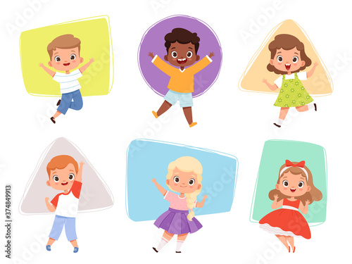 Happy kids jumping. Action childrens in different poses sitting playing joyful running cute male and female characters vector boys and girls. Action fun kid girl and boy jump illustration