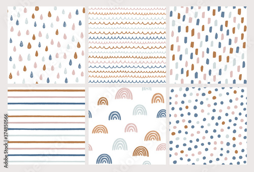 Fotografiet Set of hand drawn vector patterns in trendy colors