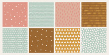 Hand Drawn Vector Abstract Doodle Patterns In Pink, Mustard, Brown. Seamless Geometric Backgrounds. Ink Doodles. Stripes, Dots, Triangles, Brush Strokes.