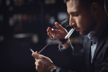 Sommeliers Male Hold Glass Red...