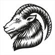 Capricorn zodiac sign vector illustration isolated on white background