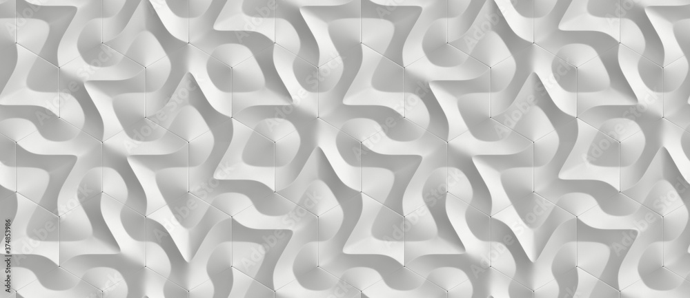White geometric 3D ornament in the form of hexagon tiles volumetric shape of leather. High quality seamless realistic texture.
