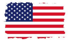 USA Flag With White Grunge Frame