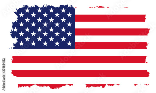 Fotografia USA flag with white grunge frame