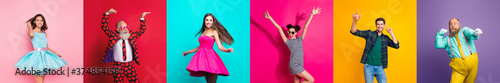 Fotografering Collage photo six cool funny active modern people diversity fancy ladies hipster