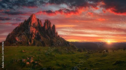 Cuadros en Lienzo amazing landscape of Itxina mountain peak at sunset