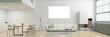 Leinwandbild Motiv Leinwand oder Posterdruck Mock-Up über Sofa in Loft