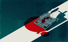 Horror Movie Concept: Vintage Typewriter And Cleaver With Blood