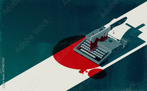 Fotografie, Obraz Horror movie concept: vintage typewriter and cleaver with blood