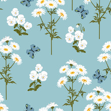 Seamless Vector Illustration With Chamomile, Pansy And Butterflies