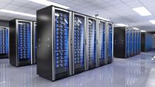 Server Racks In Server Room Da...