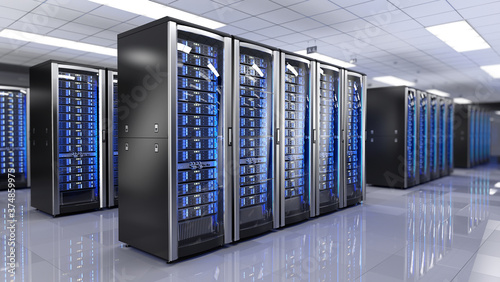 Stampa su Tela Server racks in server room data center - 3d rendering