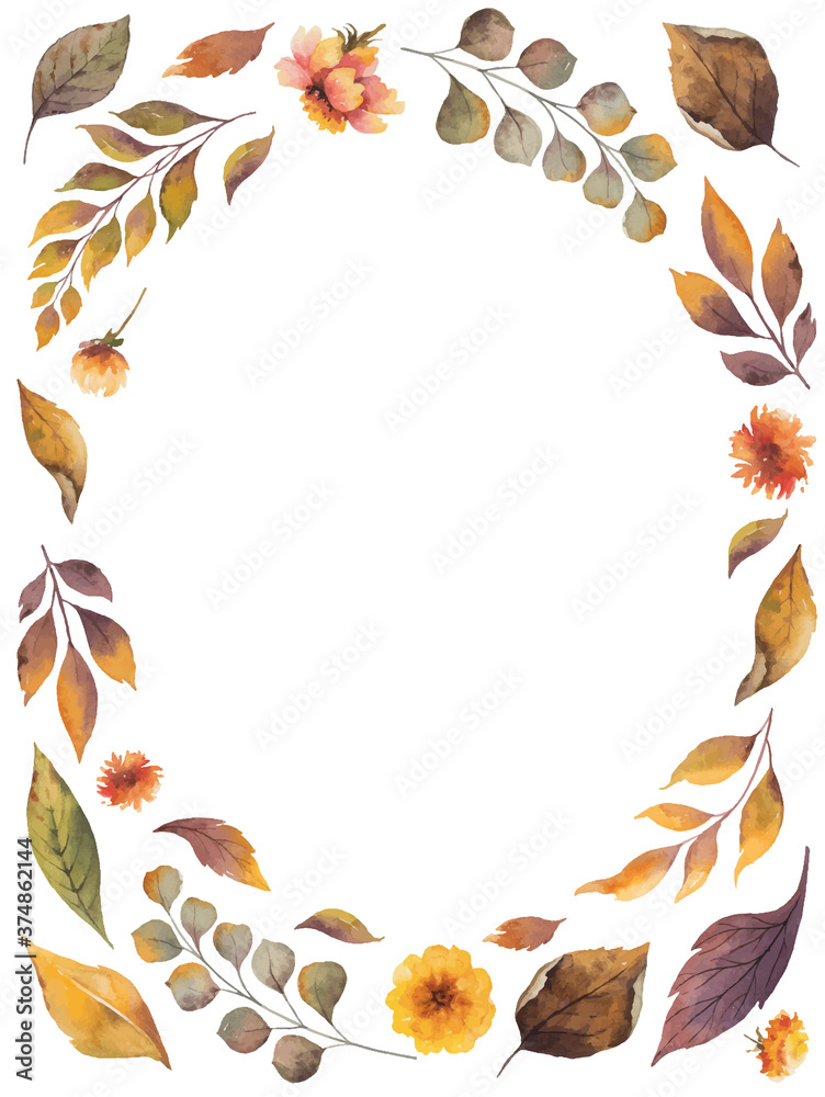Fototapeta Watercolor vector card with autumn leaves and branches isolated on white background. Arrangement for greeting cards, wedding invitations, invite and decorations.