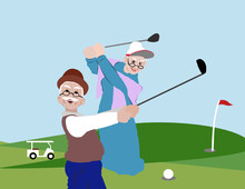 Older Adult Sport,Cartoon Seni...