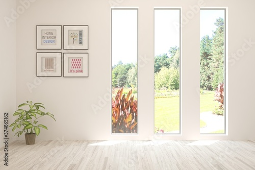 Foto White empty room with summer landscape in window