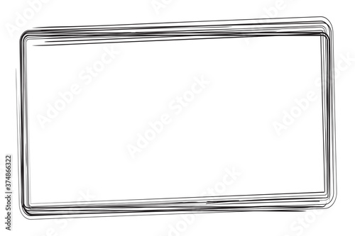 Fototapeta Vector hand Draw Sketch Rectangle Frame from Multiple Black thick mark for your