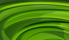 3D Rendering Of A Metallic Green Spiralling
