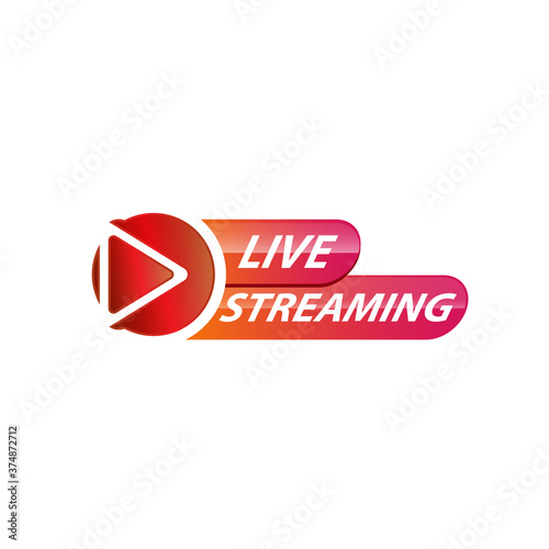 Foto Live Streaming Icon, Badge, Emblem for broadcasting or online tv stream
