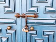 Blue Closed Door In Morocco