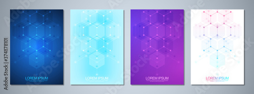 Template brochures or cover design, book, flyer, with an abstract background of hexagons shape pattern. Template design with concept and idea for science and innovation technology.