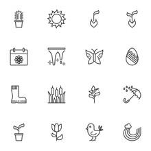 Spring Time Line Icons Set, Ou...