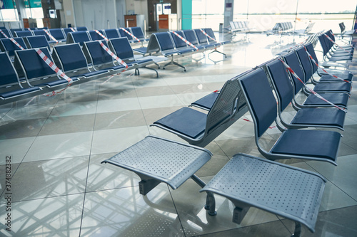 Fotografia Blue chairs in lounge zone in international airport