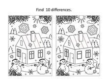 Find 10 Differences Visual Puzzle And Coloring Page With Cabin In Winter With Two Snowmen