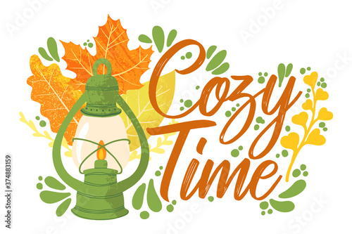 Foto Cozy Time - Fall typography quotes with autumns elements