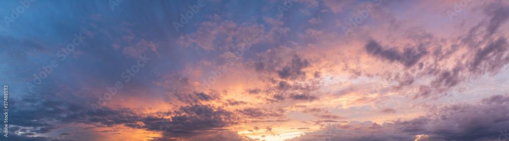Fototapeta Colorful and dramatic sky panorama of sunset background