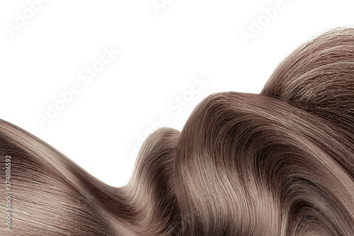 Obraz na plátně Brown shiny hair isolated on white. Background with copy space