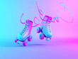 canvas print picture - Roller skates in vibrant neonlight on blue and pink gradient background. Minimal art. 3d render.