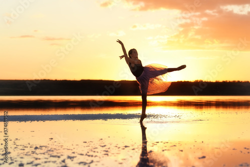 Girl ballerina in a ballet dress dances in the water of the lake at sunset Wallpaper Mural