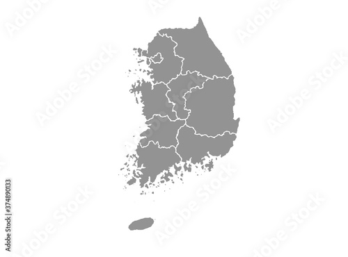 Obraz na plátně South Korea map with city, gray tone on white background,illustration,textured ,