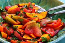 Bowl Of Fresh Peach, Tomato An...